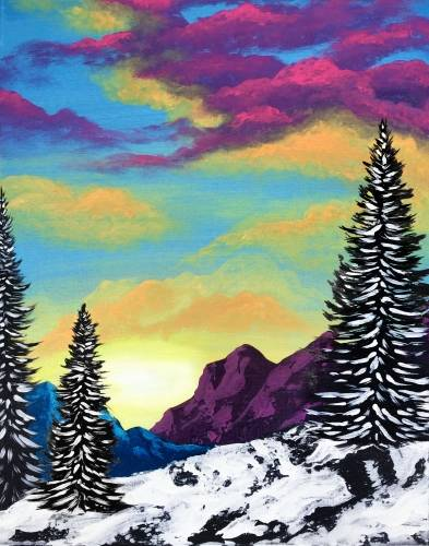 A Mountain Sunrise paint nite project by Yaymaker