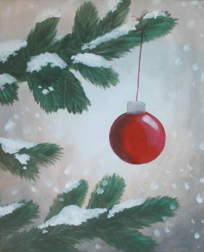 A Snowy Winter Ornament paint nite project by Yaymaker