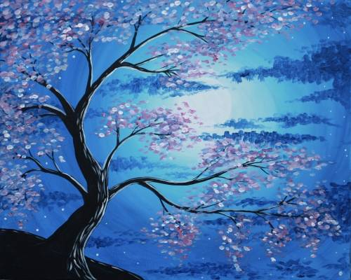 A Blossoms in the Moonlight paint nite project by Yaymaker