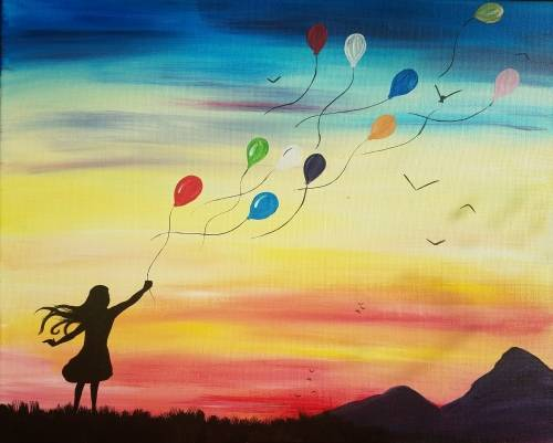 A Up Up and Away paint nite project by Yaymaker