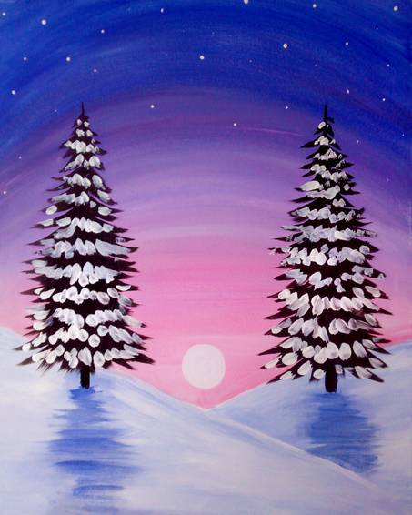 A Twin Trees In Winter paint nite project by Yaymaker