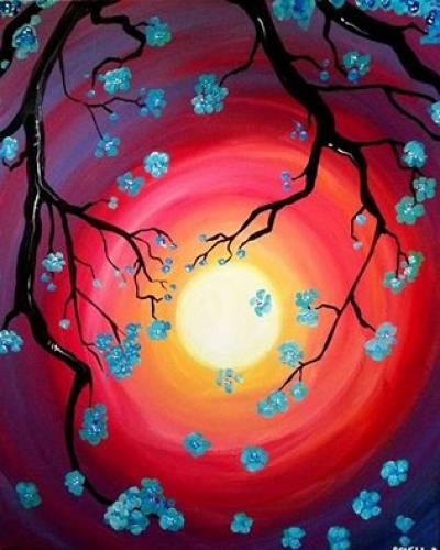 A Blueberry Blossoms II paint nite project by Yaymaker