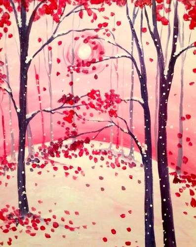 A Pinkish Winters Day paint nite project by Yaymaker