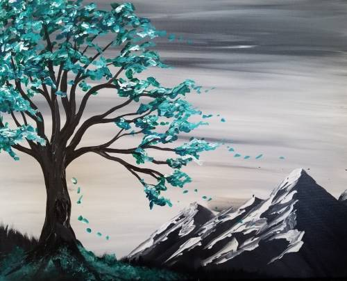 A Under the Teal Tree paint nite project by Yaymaker