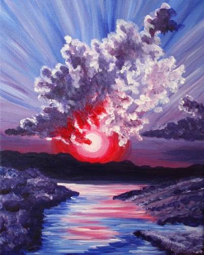 A Clouds and Sunbeams paint nite project by Yaymaker