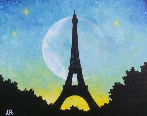 A Starry Moonlit Paris paint nite project by Yaymaker