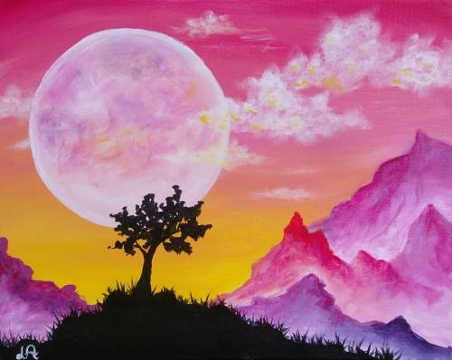 A Moonlit Mountains II paint nite project by Yaymaker