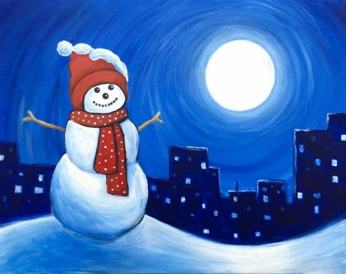 A Snowman in the City paint nite project by Yaymaker
