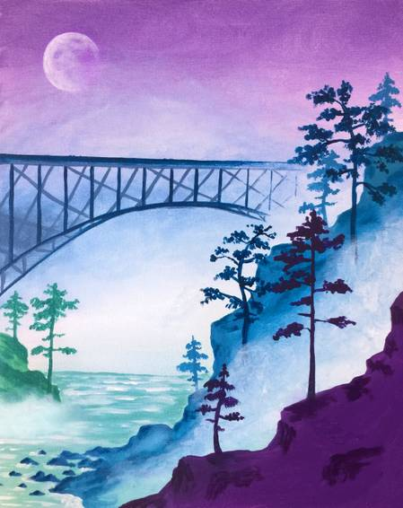 A Bridge In The Mist paint nite project by Yaymaker