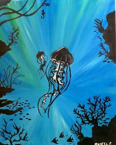 A Jellyfish Reef paint nite project by Yaymaker