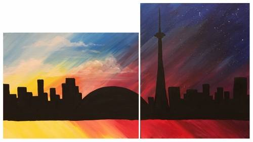 A Love Toronto Skyline Partner Painting paint nite project by Yaymaker