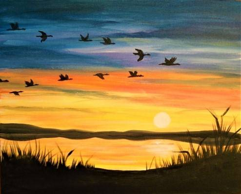 A The Flight Home paint nite project by Yaymaker