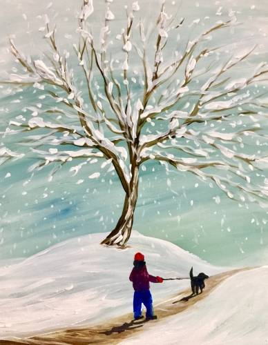 A Walking the Dog in Winter paint nite project by Yaymaker
