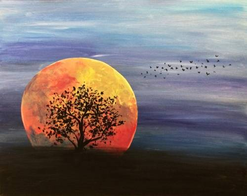 A Orange Super Moon paint nite project by Yaymaker