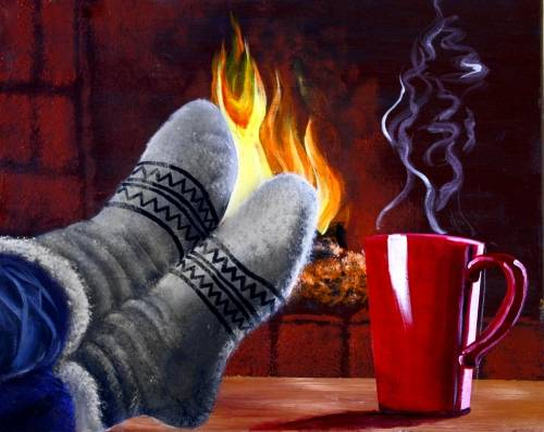 A Warm Coffee By The Fireplace paint nite project by Yaymaker