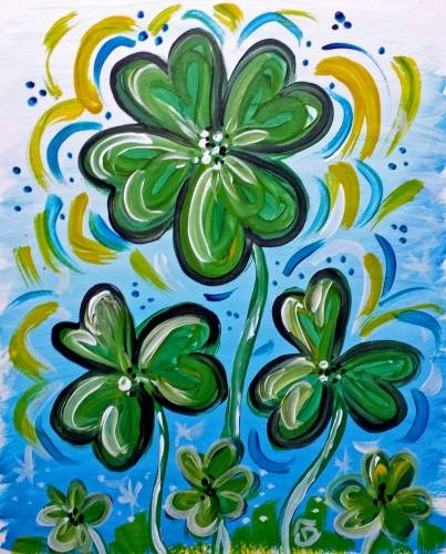A 4 Leaf Shamrock paint nite project by Yaymaker