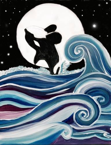 A Whale in the Waves paint nite project by Yaymaker