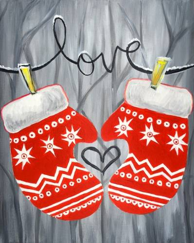 A Love Mittens paint nite project by Yaymaker