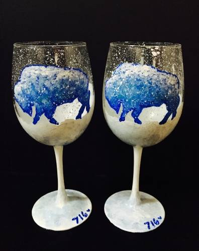 A Snowy Buffalo Wine Glasses paint nite project by Yaymaker