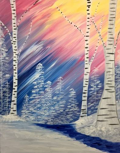A Winter Rainbow Birch paint nite project by Yaymaker
