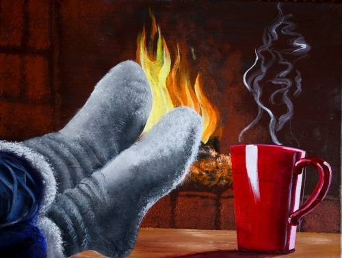 A Warm Coffee By Fireplace II paint nite project by Yaymaker
