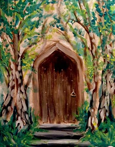 A Secret Garden Door paint nite project by Yaymaker