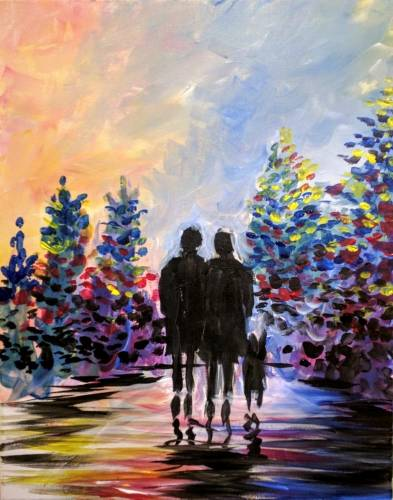 A Walking the Dog in The Park paint nite project by Yaymaker