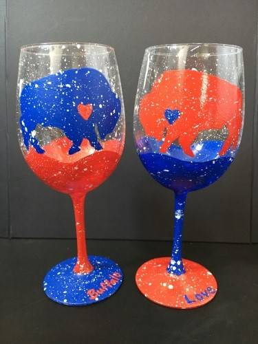 A Buffalo Love Wine Glasses paint nite project by Yaymaker