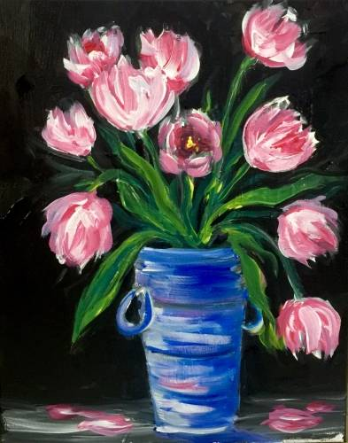 A Impressionist Pink Tulips paint nite project by Yaymaker