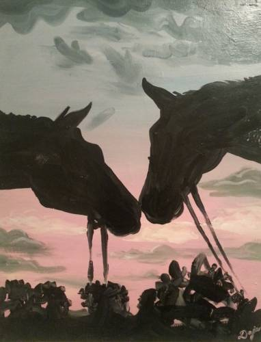 A Sunset Romance by Horses paint nite project by Yaymaker