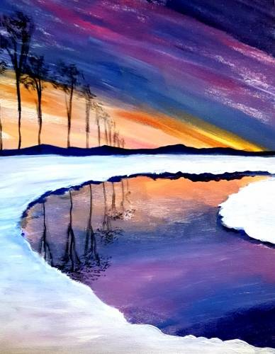 A Snow Lake Reflections paint nite project by Yaymaker
