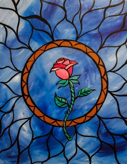 A Stained Glass Rose III paint nite project by Yaymaker