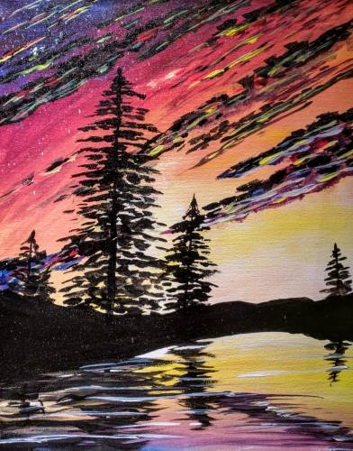A Bright Sky Bright Lake Reflection paint nite project by Yaymaker