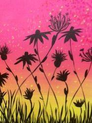 A Pink with Dandelion Silhouettes paint nite project by Yaymaker