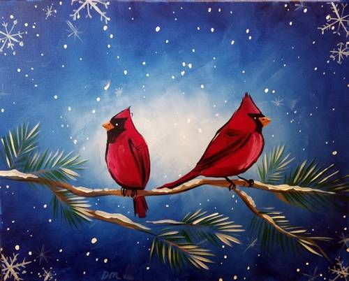 A Cardinal Snowflakes paint nite project by Yaymaker