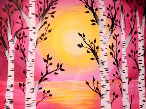 A Sunset and Birch Trees paint nite project by Yaymaker