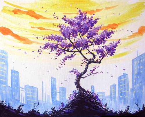A Purple City Blossoms paint nite project by Yaymaker
