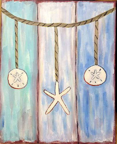 A Sand Dollar Starfish  Dreams paint nite project by Yaymaker