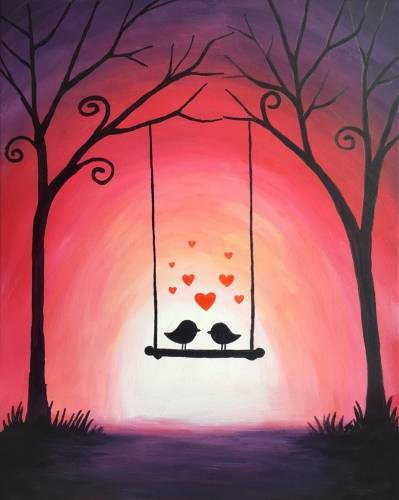 A Swinging Love Birds paint nite project by Yaymaker