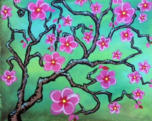 A Springtime Cherry Blossoms paint nite project by Yaymaker