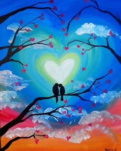 A Lovebirds on Their Branch paint nite project by Yaymaker