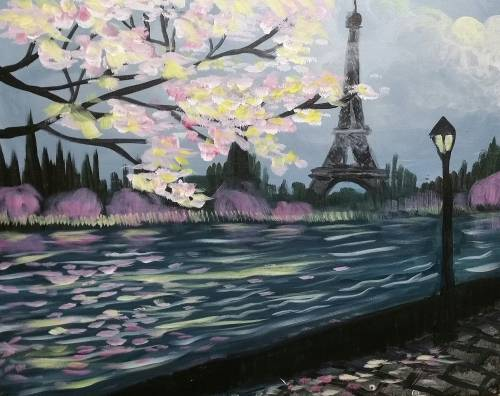 A Springtime in Paris paint nite project by Yaymaker