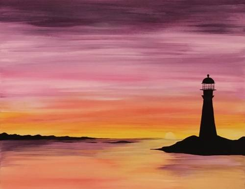 A West Coast Lighthouse paint nite project by Yaymaker