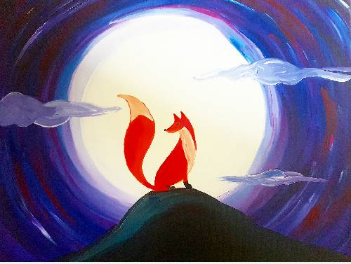 A Red Fox and Moonlight paint nite project by Yaymaker