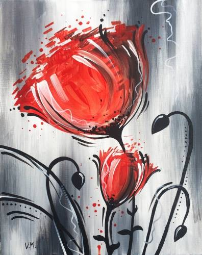 A Whimsical Red Flower paint nite project by Yaymaker