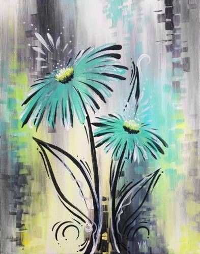 A Whimsical Blue Gerbera paint nite project by Yaymaker