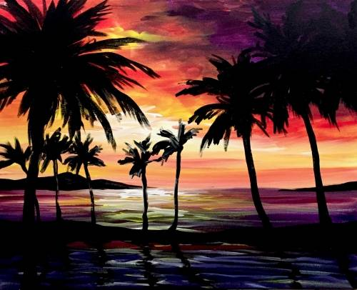 A On a Beach in Hawaii paint nite project by Yaymaker