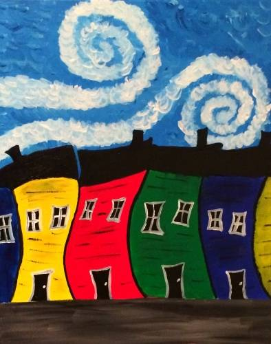 A Windy Day on Jelly Bean Row paint nite project by Yaymaker