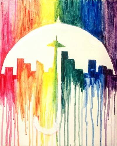A Rainbow City Rain paint nite project by Yaymaker