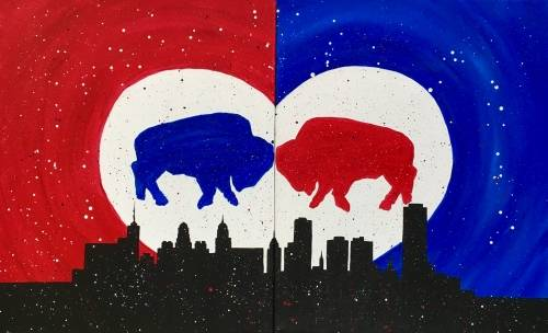 A Buffalo Love Partner Painting paint nite project by Yaymaker